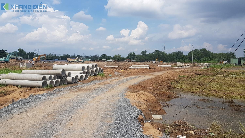 Đường N18 lộ giới 20m đang được thi công mạnh tại dự án Lovera Premier - Khang Điền HCM