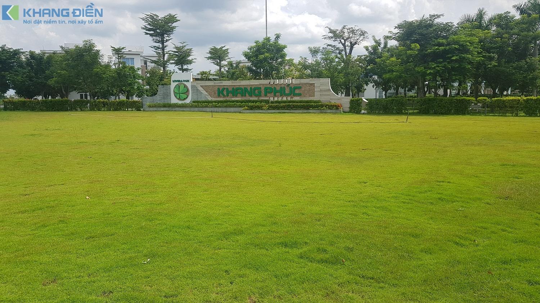 Mảng xanh ngay cổng chính đi vào dự án Lovera Park Bình Chánh - Khang Điền HCM