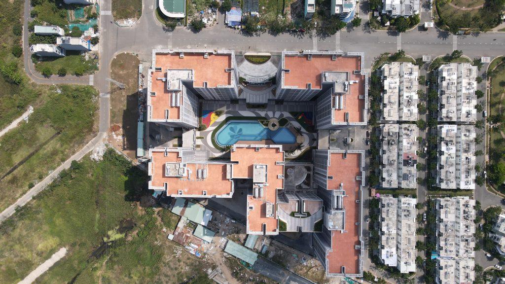 Toàn cảnh dự án Lovera Vista Bình Chánh từ trên cao. Dự án dự kiến bàn giao nhà cho khách hàng vào quý 2/2021