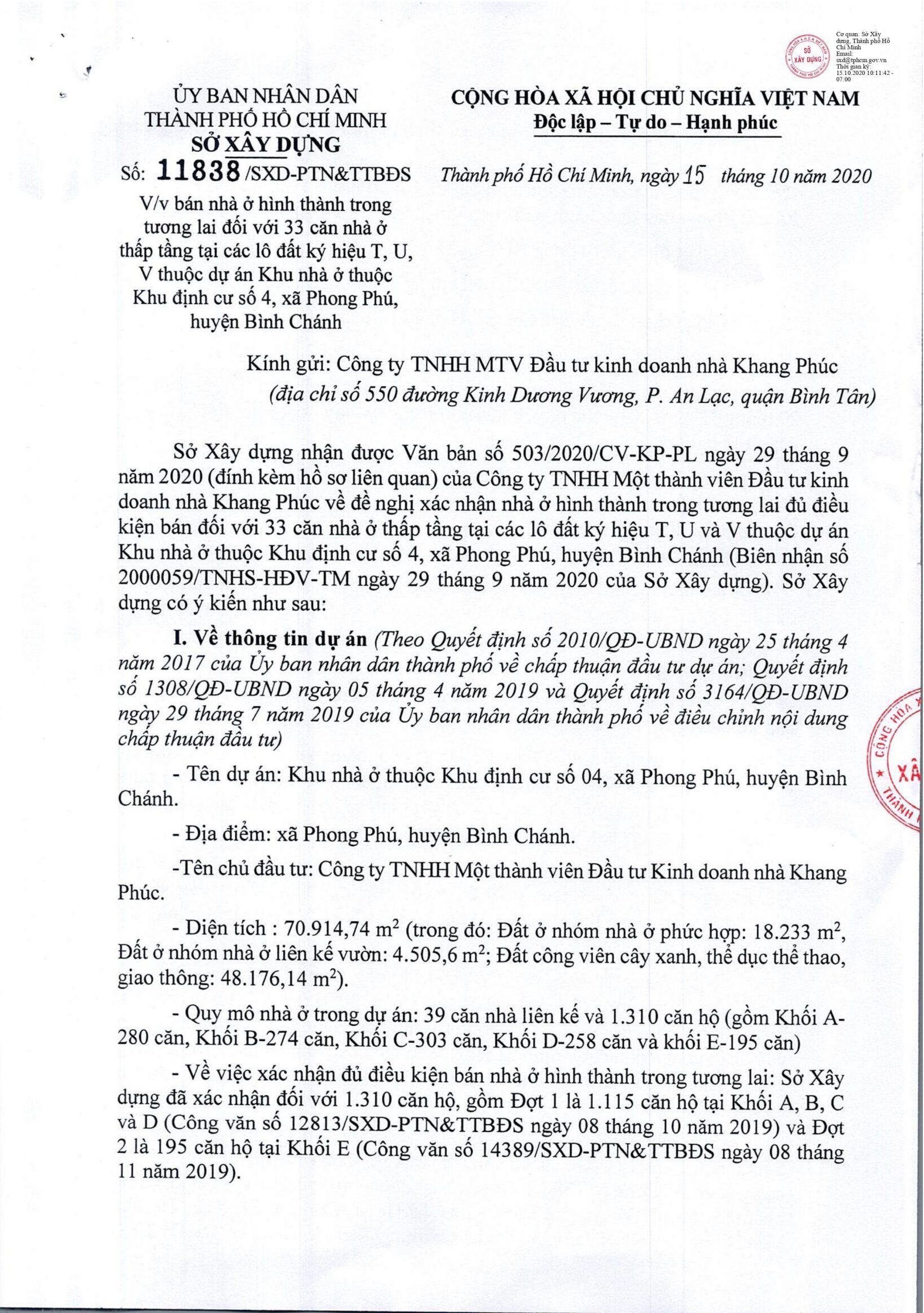 Văn bản 11838/SXD-PTN&TTBDS về việc đủ điều kiên bán nhà ở hình thành trong tương lai đối với 33 căn nhà ở thấp tầng Lovera Premier - KHANG DIEN HCM