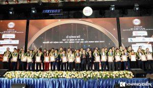 Đại diện các Công ty nhận giải Top 1o uy tín trong nghành Bất động sản - Vật liệu - Xây dựng năm 2021 - Khang Điền HCM