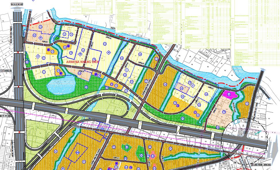 Kết nối giao thông tại dự án Armena Khang Điền Quận 9 nhìn từ bản đồ quy hoạch SDĐ 1/2000 Quận 9 - Khang Điền HCM
