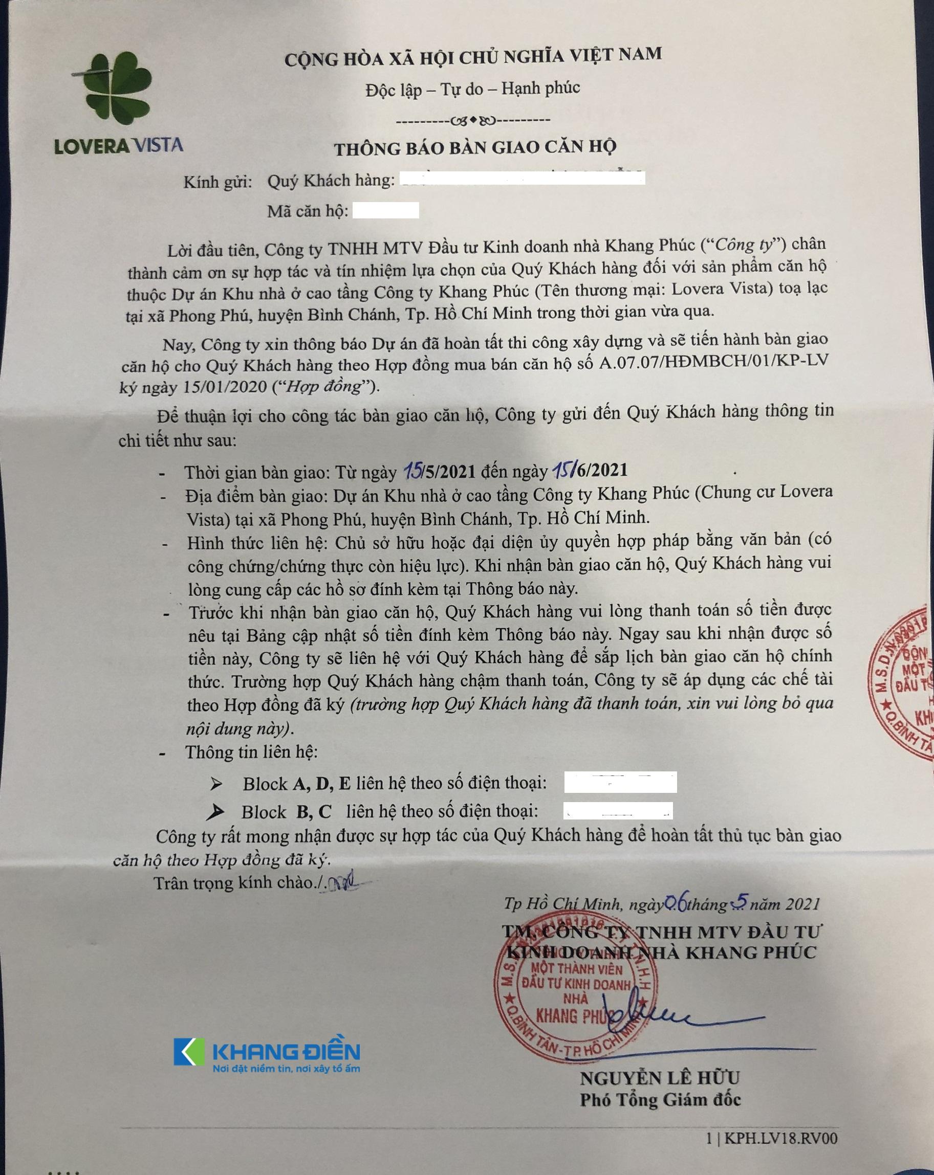 Thông báo bàn giao căn hộ Lovera Vista Khang Điền Bình Chánh được gửi đến Cư dân - Khang Điền HCM