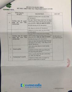 Những giấy tờ cần mang theo khi nhận bàn giao cũng là những giấy tờ cần thiết để thực hiện việc làm Sổ hồng Lovera Vista - Khang Điền HCM