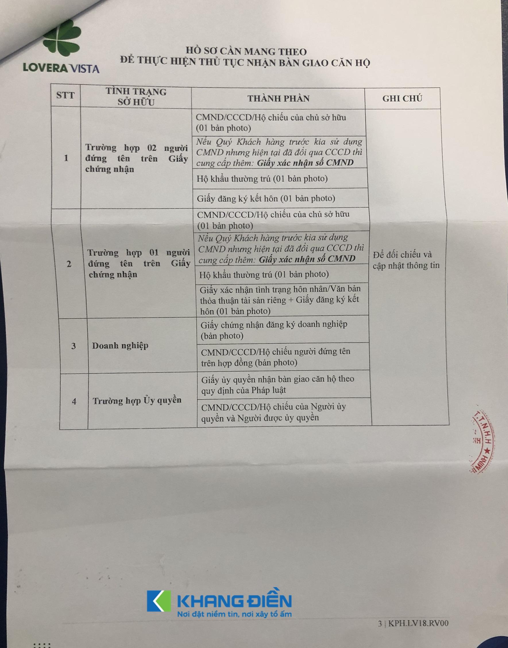 Những giấy tờ cần khi nhận bàn giao cũng là những giấy tờ cần thiết để làm Sổ hồng Lovera Vista - Khang Điền HCM